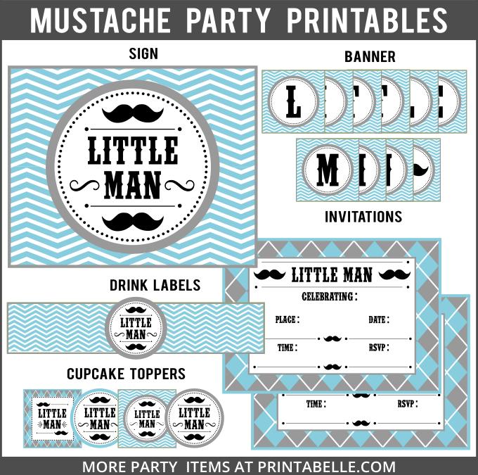 Mustache Little Man Party Printables