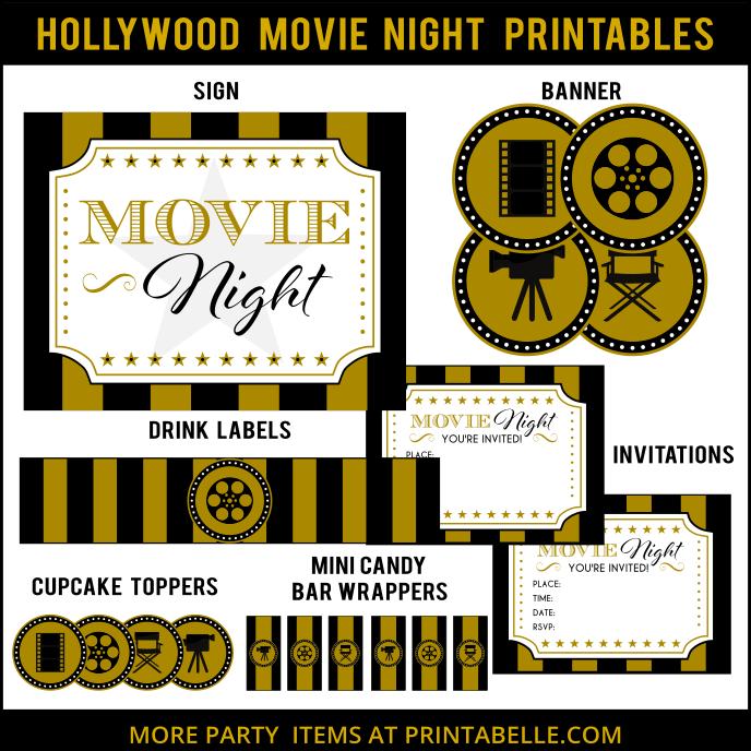 Hollywood Movie Night Printable Set