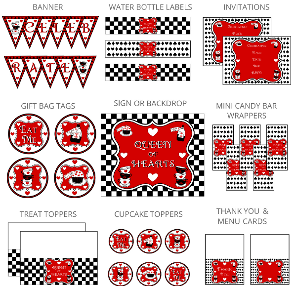 Queen of Hearts Party Printables