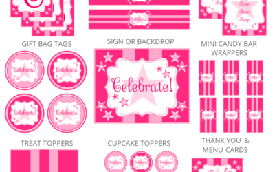 Pink Star Birthday Party Printables