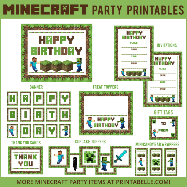 Minecraft Party Printable Downloads Printabelle