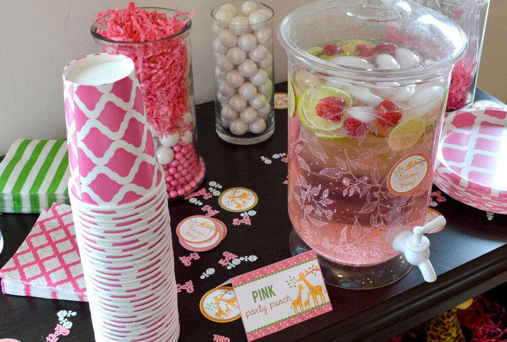 Pink Baby Shower Drink Station