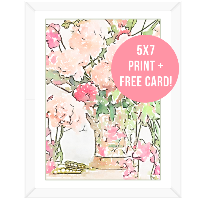 Floral Watercolor Print and FREE Greeting Card