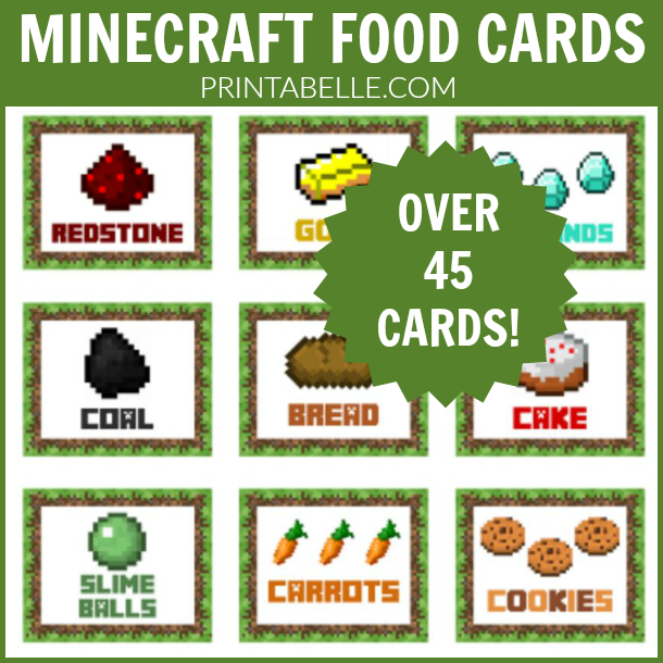 Minecraft Party Food Printable Labels