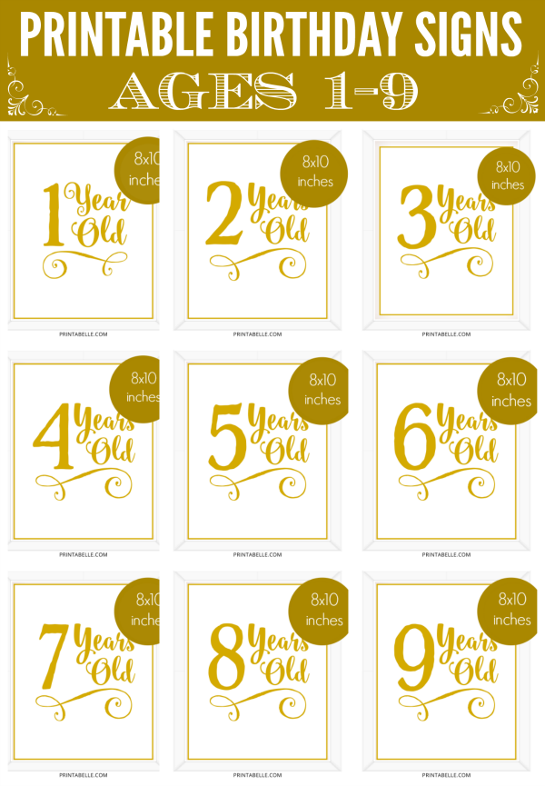 Printable Birthday Signs Ages 1-9