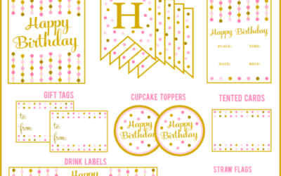 Pink & Gold Party Printables