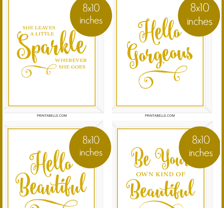 White and Gold Printable Signs