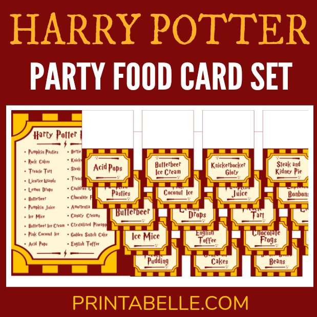 Harry Potter Party Printable Food Cards Free Sign