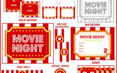 Movie Night Popcorn Printables