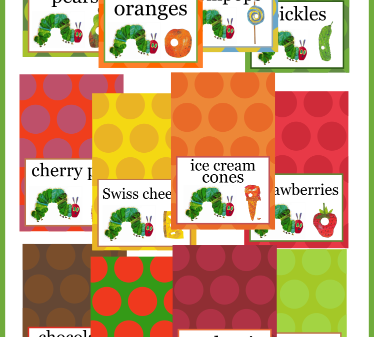 The Very Hungry Caterpillar Food Cards + Free Sign & Coloring Page!