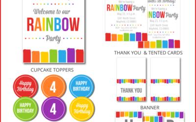 Rainbow Party Printable Set