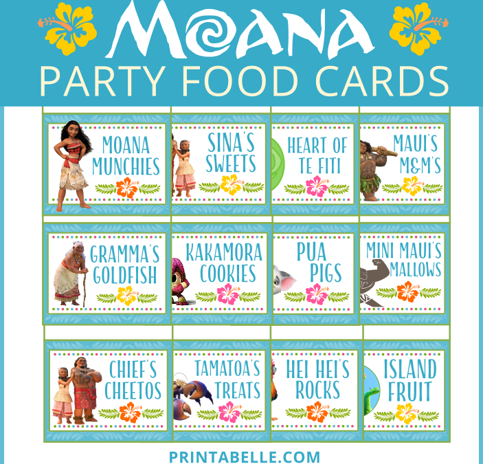 Moana Food Cards + Free Snack Bar Sign