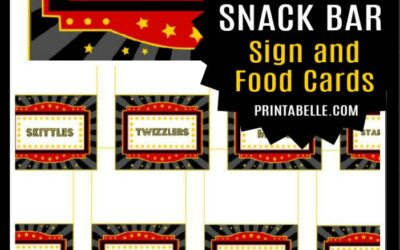 Movie Food Cards and FREE Sign