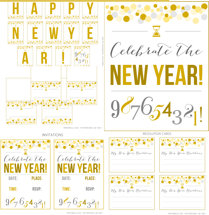 Gold New Year's Party Printables