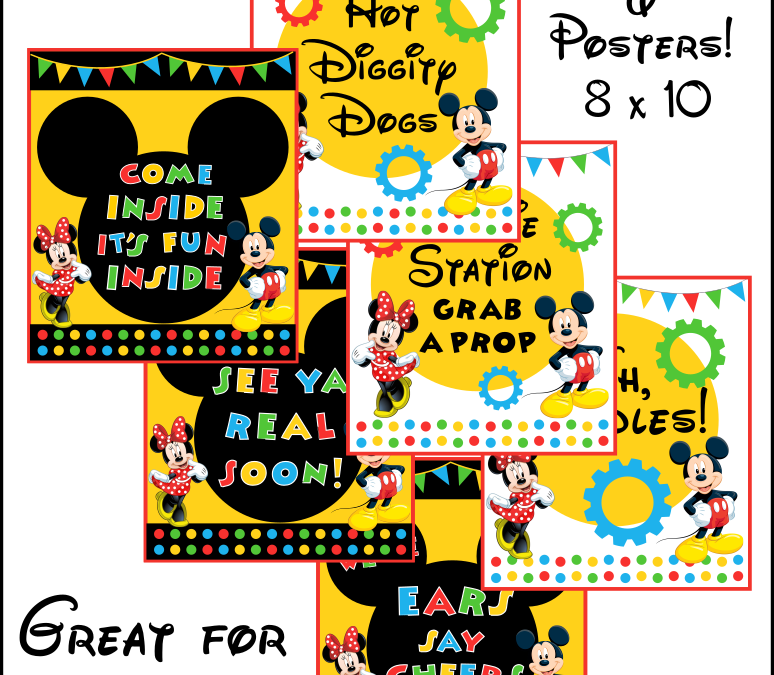 Mickey Mouse Printable Party Signs