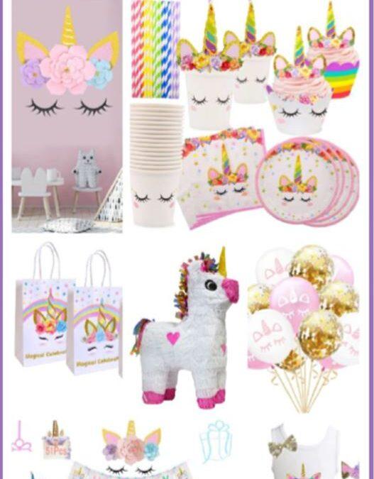 Unicorn Party Supplies in Rainbow & Gold Glitter