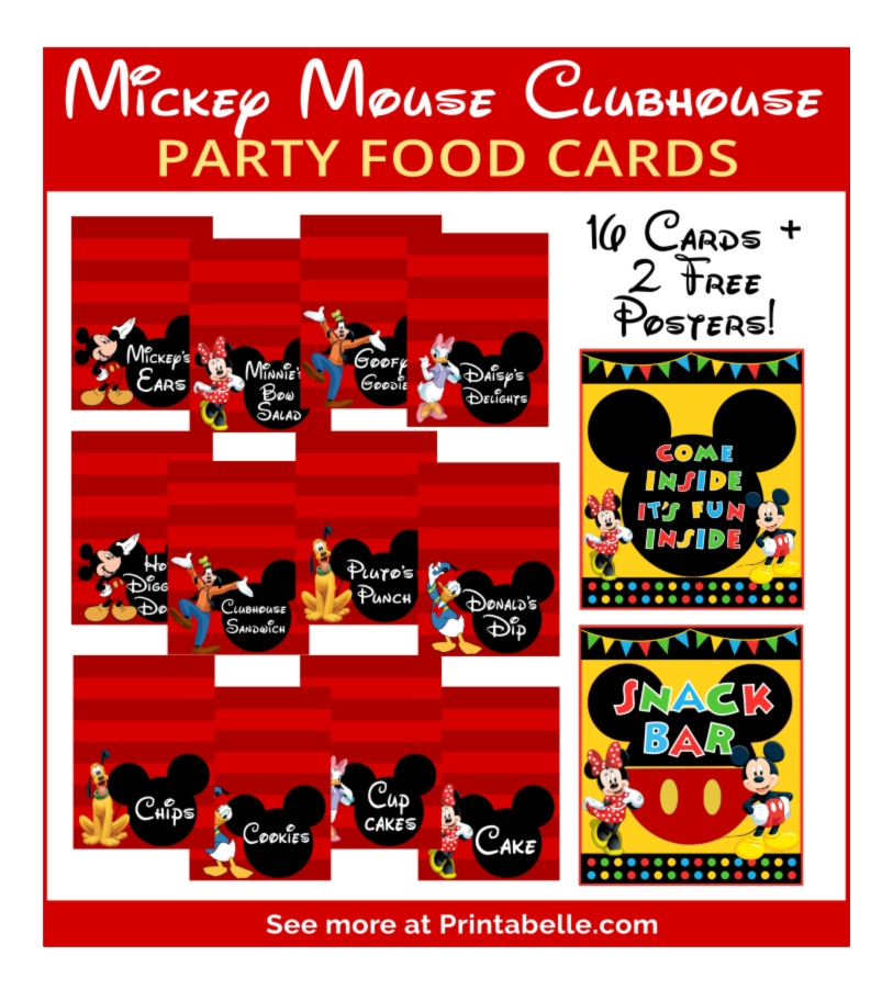 Mickey Mouse Party Food Cards & Signs