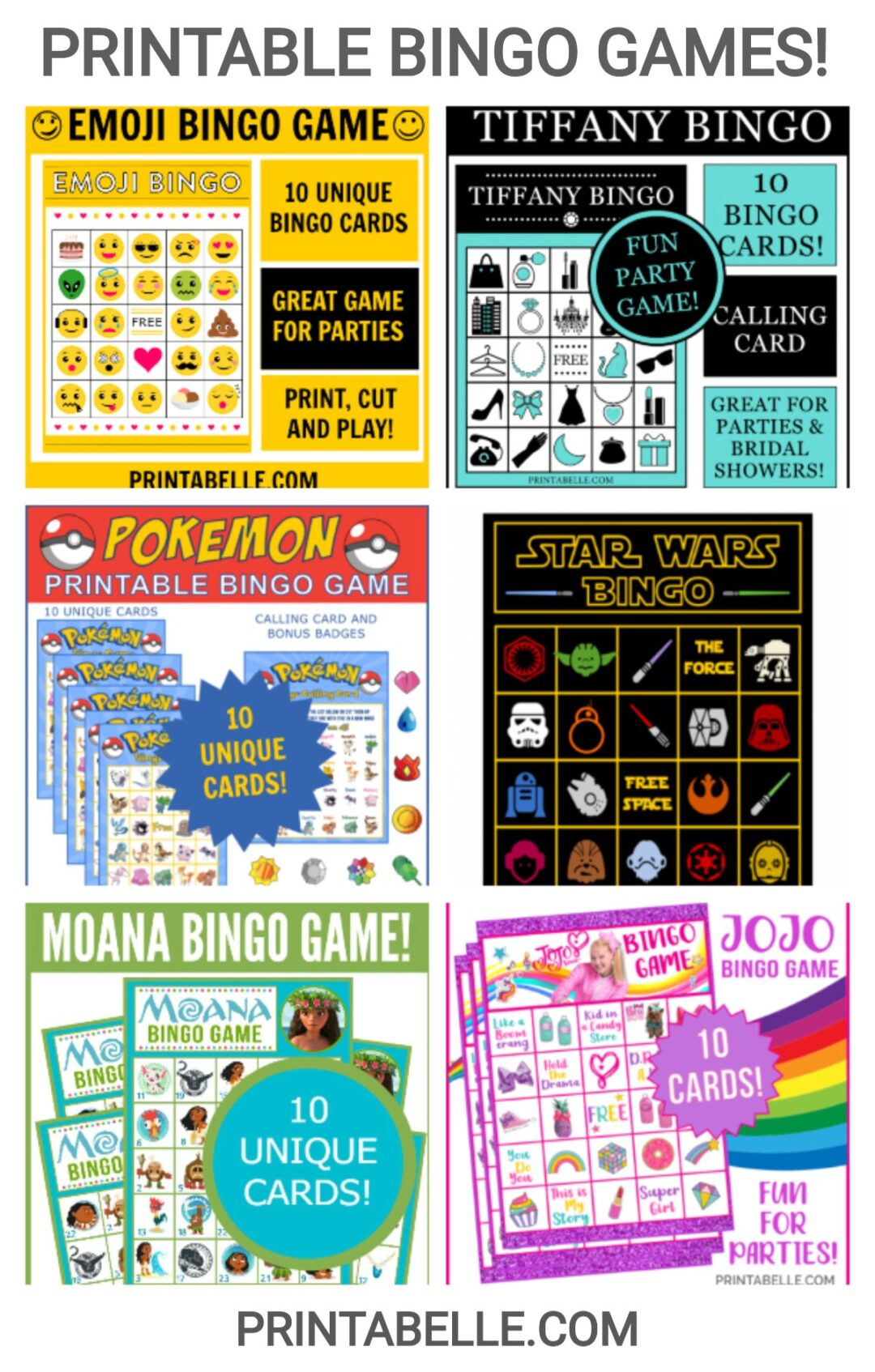 Bingo Games Printable for Birthdays, Bridal and Baby Showers!