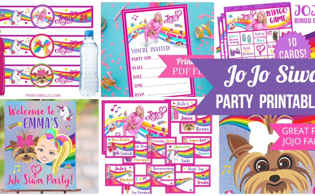 JoJo Siwa Party Printables – Food Cards, Sign, Invitations, Water Bottle Labels, Cupcake Toppers, Games, Bingo
