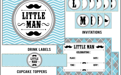 Mustache Little Man Party Printables