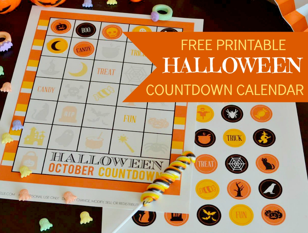 Halloween Countdown Calendar Free Printable