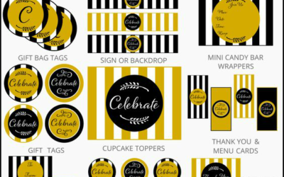 Gold and Black Party Printables