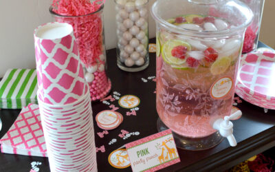 Pink Baby Shower Drink Station