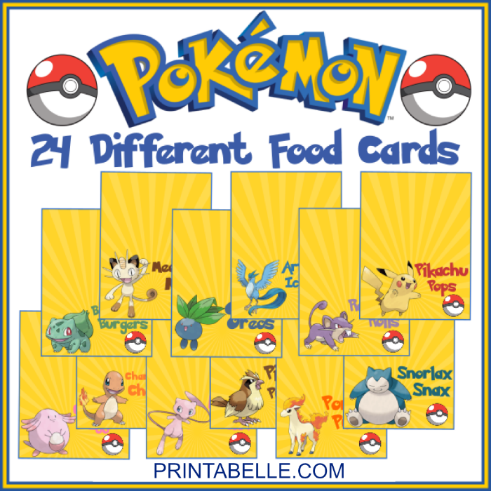 Pokemon Printable Party Food Cards Free Snack Bar Sign