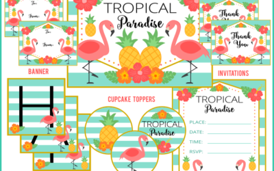 Tropical Flamingo Party Printables