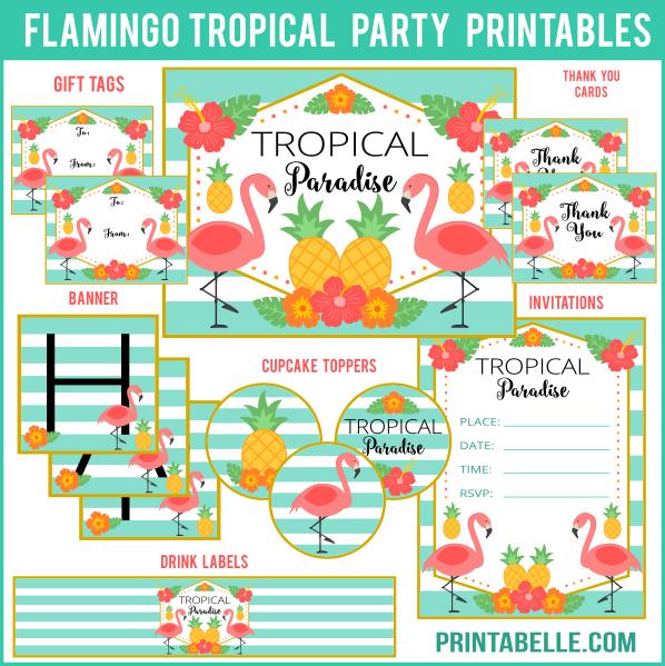 Tropical Flamingo Party Printables