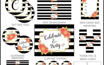 Striped Floral Party Printables