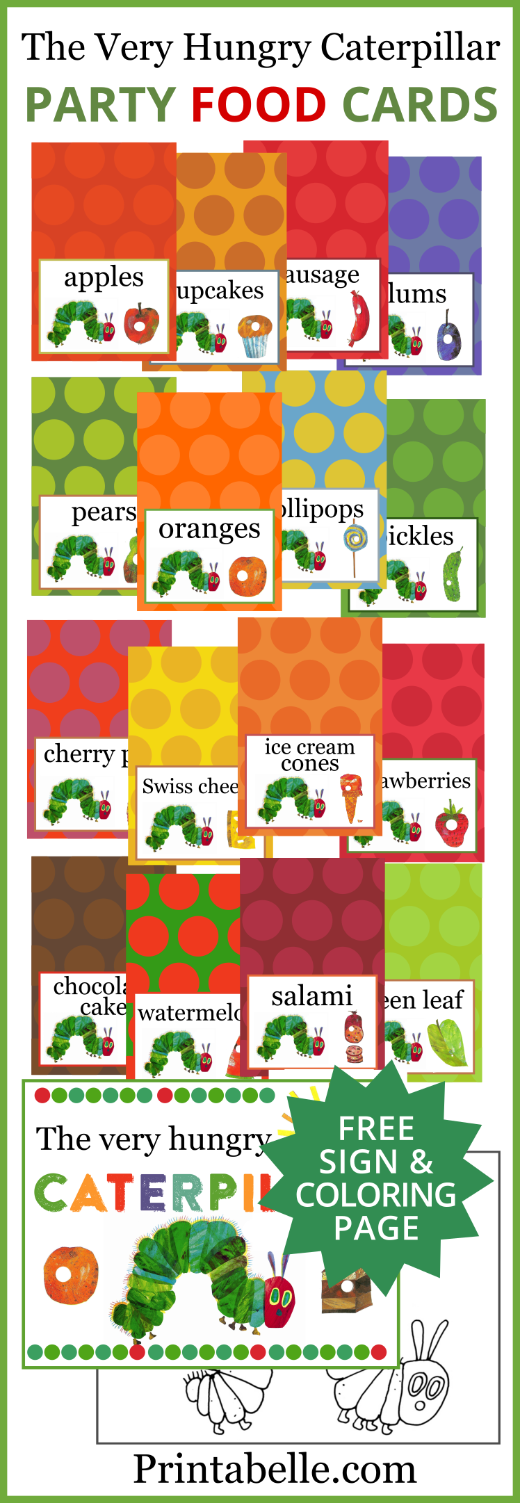 The Very Hungry Caterpillar Food Cards + Free Sign