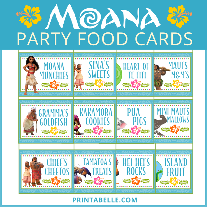 Moana Printable Party Food Cards Free Printable Snack Bar Sign