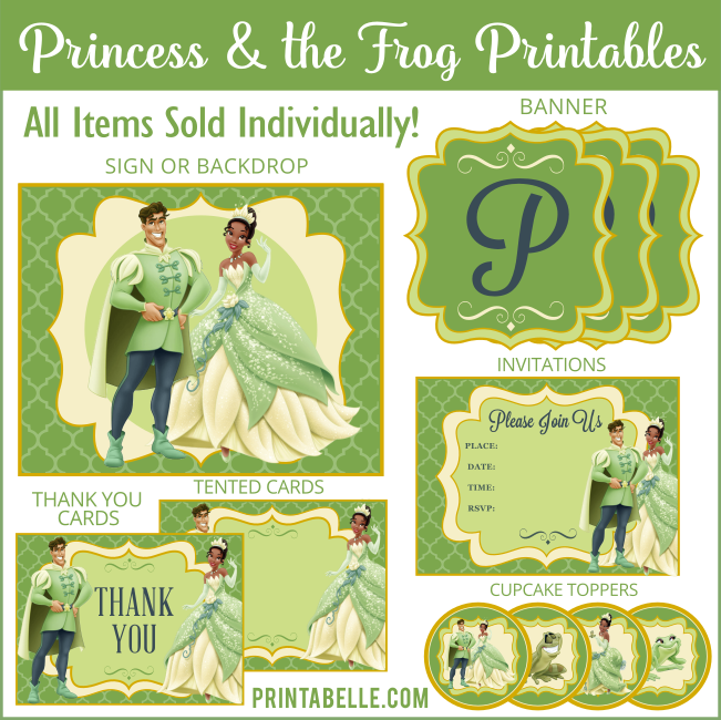 Princess & the Frog Printable Party Items