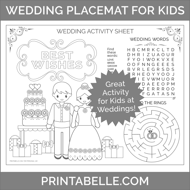 Kids Activity Placemat for Weddings