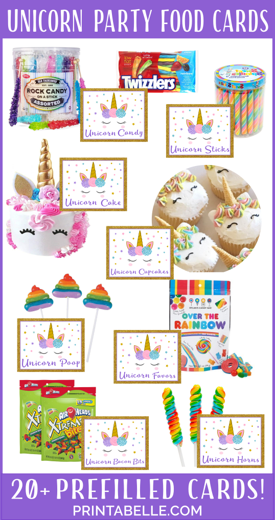 Unicorn Party Food Cards