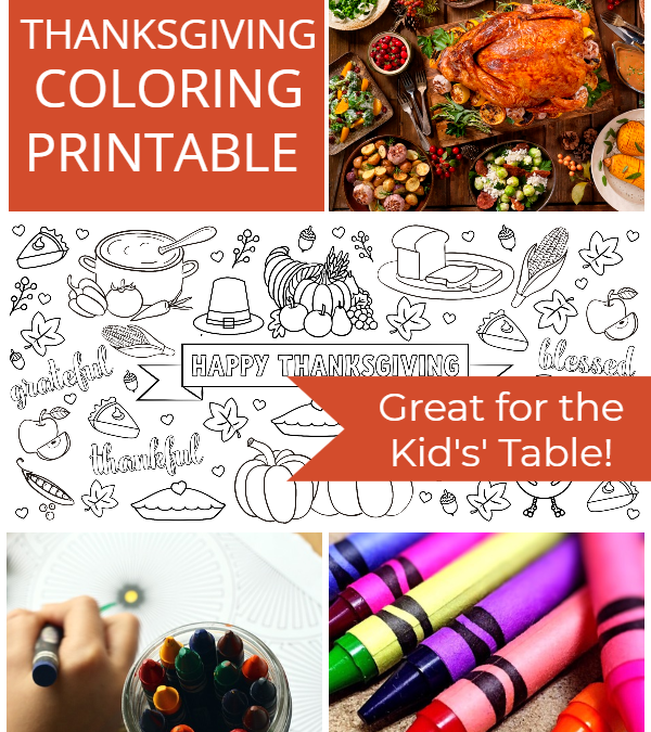 Thanksgiving Kids Table Printable Coloring Topper