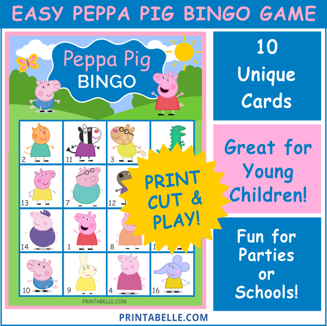 Peppa Pig Bingo Game Printable Printabelle