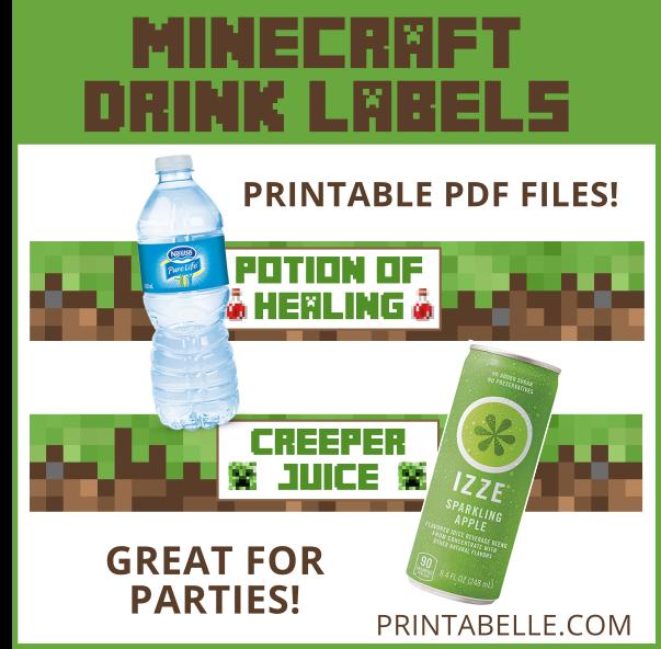 Minecraft Drinks Printable Labels