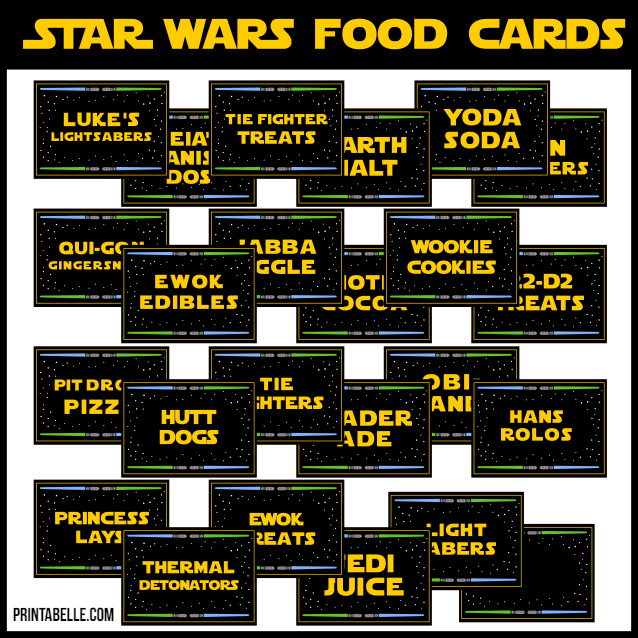 Star Wars Party Food Cards, Printables and Supplies!