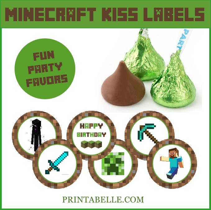 Minecraft Kiss Printable Labels
