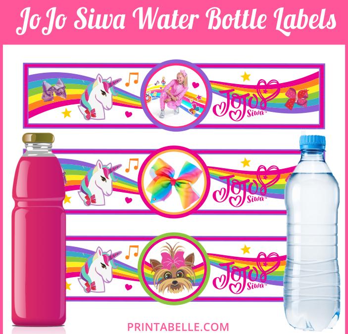 JoJo Siwa Water Bottle Labels