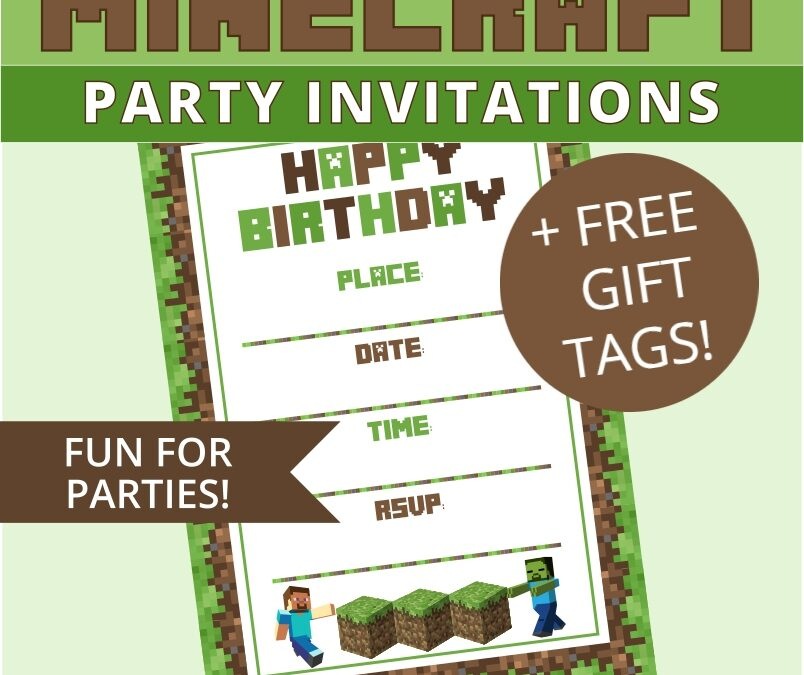 Minecraft Invitations +FREE Gift Tags Party Printables
